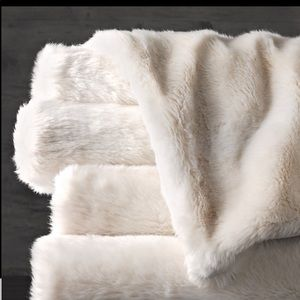 Restoration Hardware Ivory Luxe Faux Fur Throw